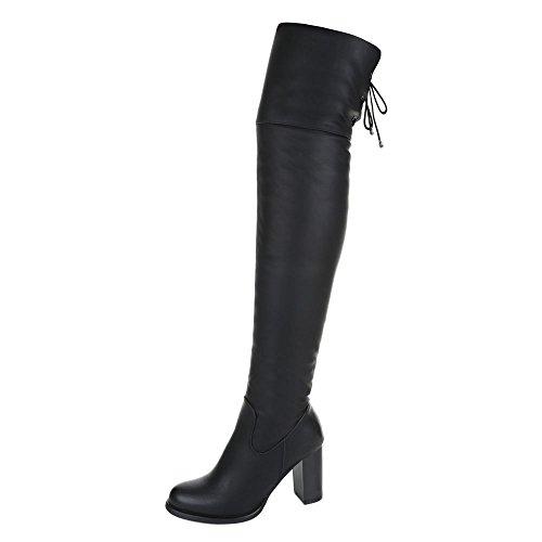 Overknee Stiefel Damen Schuhe Klassischer Stiefel Pump Moderne Reißverschluss Ital-Design Stiefel Schwarz, Gr 40, Ja3180-