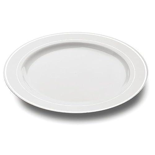 MOZAIK 20 White Silver Rim Plastic Plates 19cm  sc 1 st  Amazon UK & Plastic Picnic Plates: Amazon.co.uk
