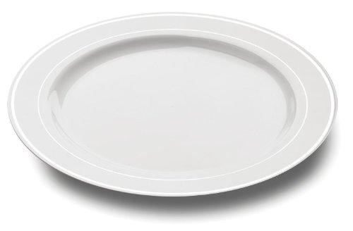 MOZAIK 20 Kunststoffteller in Weiß mit silbrigem Rand 26 cm