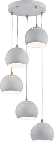 Hängelampe Weiß Grau 5-flammig Wasserfall Industriestil Bauhaus Metall Schirm Kugelform E27 Küchenlampe Hängeleuchte Pendelleuchte