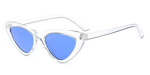BOZEVON Damen Triangle Sonnenbrille - UV400 Brillen Katzenauge Retro Jahrgang Cat Eye Sonnenbrillen Weiß Blau