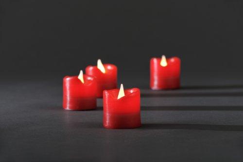 Konstsmide 1977-550 - Juego de velas sin llama con luces LED, cera auténtica, 4 unidades, 4 diodos blancos, incluye interruptor y 4 pilas CR 3 V, color rojo