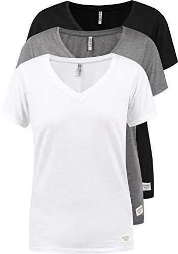 DESIRES Vanni Damen T-Shirt Kurzarm Shirt Mit V-Ausschnitt 3er Pack, Größe:XL, Farbe:3er-Box-3