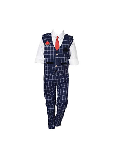 AHHAAAA Kids Waistcoat, Shirt, Tie and Trouser Set for Boys_571 (8-9 Years, Navy Blue)