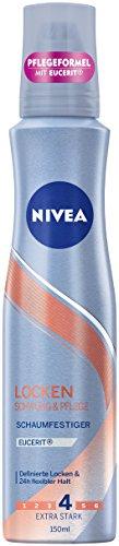 NIVEA 3er Pack Schaumfestiger, Extra Stark, 3 x 150 ml Dose,  Locken Schwung & Pflege