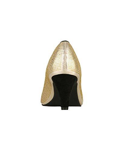 Krisp® Ladies Tacco A Spillo Con Tacco In Gattino Oro (5487)