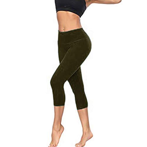 Watopi Frauen Stretch Yogahosen Einfarbig Yoga-Fitness-Hose Hüften Sieben Punkte Yogahosen Sporthosen Leggings