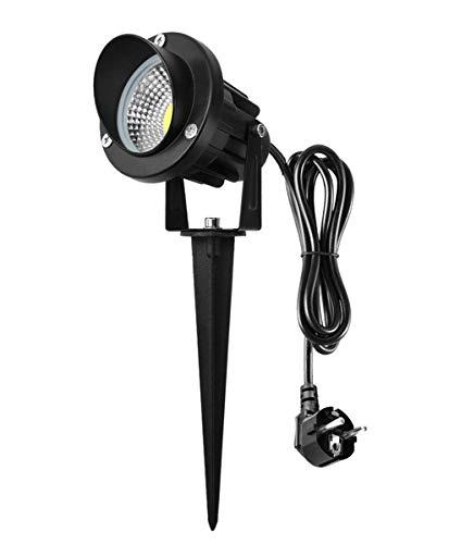 HYIBE 7W LED Gartenleuchte mit Erdspieß Gartenstrahler 6000k Strahler IP65 wasserdichte gartenbeleuchtung für Garten, Baum,Wiese, 1,5m Kabel mit Stecker, Kaltweiß