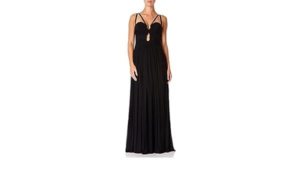 9ed86f46bf39 Forever Unique - LEIA - Black Directional Ruched Maxi Dress 10  Amazon.fr   Vêtements et accessoires