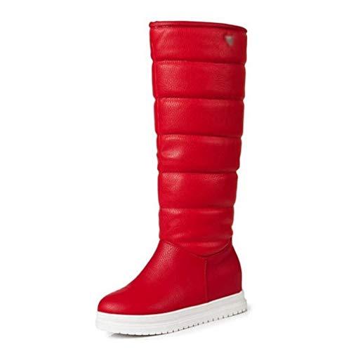 Gf-20191112 Go first Damen Winter Schneeschuhe Plüsch Pelz in Fersen Warme Schuhe Kniehohe Stiefel runde Zehen Schuhe (Color : Rot, Size : 43 EU) -