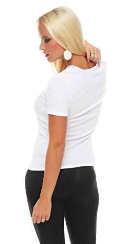 Damen-Hemd mit Spitze und V-Ausschnitt (Shirt, Top, Damenhemd) Nr. 404 ( Weiß / 40/42 - (Medium) ) - 3