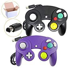 Poulep NGC Wired Controller für WII Gamecube Black + Purple