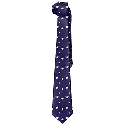 Estrange Dark Blue Star Printed Mens Neckties Tie For Birthday Party Business Gift
