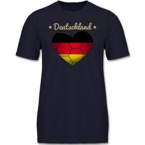 Handball WM 2019 Kinder - Handballherz Deutschland - 116 (5-6 Jahre) - Dunkelblau - F130K - Jungen Kinder T-Shirt