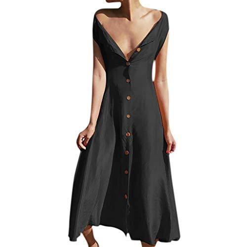 Sommerkleid Damen ärmellos V-Ausschnitt Einfarbig Knopf Lose Größe Kleid Mitte Taille Fräulein Kleid Sommerkleid - Drucken Seite Schlitz Rock
