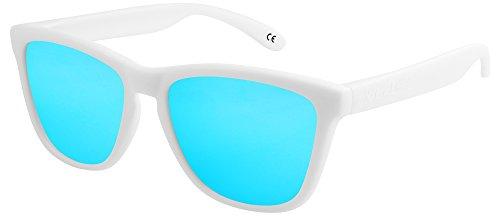 X-CRUZE® 9-019 X0 Nerd Sonnenbrillen polarisiert Style Stil Retro Vintage Retro Unisex Herren Damen Männer Frauen Brille Nerdbrille - weiß matt/hellblau verspiegelt
