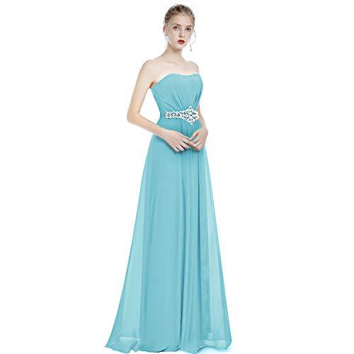 OBEEII Kleider Damen Elegant Lang Brautjungfer Hochzeit Festlich Abendkleid Frauen Einfarbig...