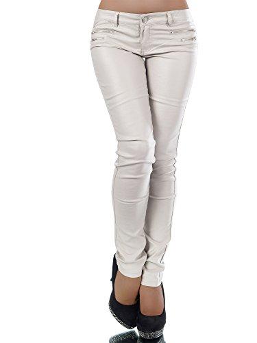 L521 Damen Jeans Hose Hüfthose Damenjeans Hüftjeans Röhrenjeans Leder-Optik, Größen:42 (XL), Farben:Beige