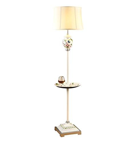 Kreative Stehlampe Wohnzimmer Villa Retro-Couchtisch Stehlampe Studie einfache Hochzeit Lampen handgefertigte Malerei (Color : White)