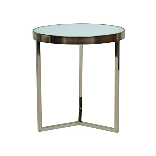 MORE DESIGN Table Basse, Verre, Blanc et Bronze, 42,5 x 42,5 x 64 cm