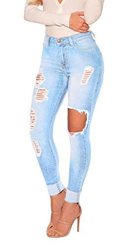 iRachel Damen Jeans Hose Butt Lift Skinny Röhrenjeans Bleistifthose Blau Denim Loch Bleistift Hose