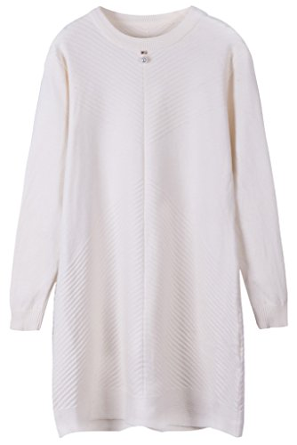 Vogueearth Femme's Longue Manche Knit Basic Crew Neck Pullover Sweater Chandail Tricots Off-Blanc