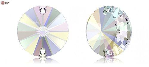Swarovski Rivoli Sew-on Stone (3200) 10mm - CRYSTAL AURORE BOREALE (001AB) With Platinum Foiling x 36 Pieces by SWAROVSKI ELEMENTS Platinum Crystal