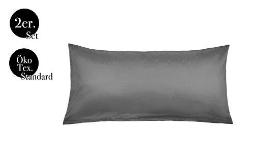 amato Home Kissenbezüge Doppelpack 2er Set Bettwäsche Kopfkissen-Bezüge Kissenhüllen Kissenbezug Kissen Sofakissen Bett Deko Grau 40x80 cm 100% Baumwolle Cotton Kinderbettwäsche (40 x 80 cm, Grau) (Seide, Bett, Kissen)
