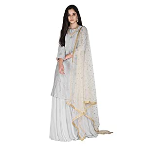Amaira Grey Floral Embroidered Kurta Lehenga Set In Chanderi And Georgette