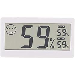 Thermomètre Hygromètre Numérique, Thermo-hygromètre Domestique Électronique Ecran LCD Détecteur de Température Humidité Monitoring Time Recorder Monitor Moniteur de jauge 2-en-1