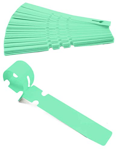 HomeTools.eu® - 100 Stück Beschriftungs-Bänder, Label, Pflanzen-Beschriftung, Bäume Sträucher, wetterfest, verwitterungsfest mit Schlaufe zur Befestigung, beschreibbar, Kunststoff 21 x 2cm, grün