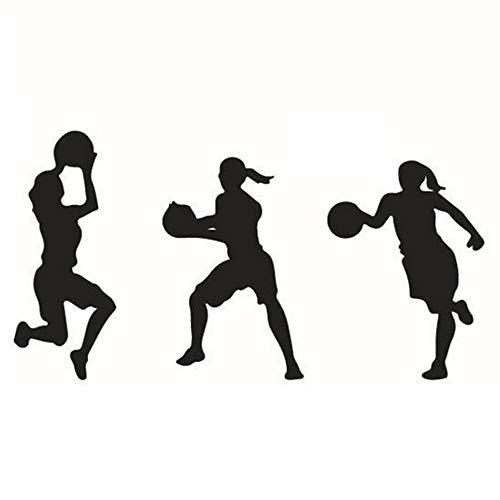 Hemore 57 * 38,5 cm DREI mädchen Spielen Basketball wandaufkleber 1 Pack Halloween, Weihnachten, Thanksgiving Geschenke und Dekorationen (Spiele Halloween Dekoration)