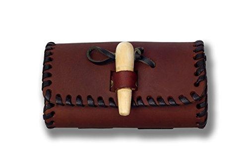 Gürteltasche mit Holzverschluss klein - Antik