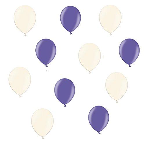 25 Creme & Lila - ca. Ø 28cm - 50 Stück - Ballons als Deko, Party, Fest, Baby, Junge, Mädchen, Geburt, Hochzeit - Farbe Creme & Lila - für Helium geeignet - twist4® (Lila Und Creme-hochzeit)