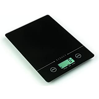Exzact EX9150 Super Slim (1.4 CM) Electronic Kitchen Scale / Food Weighing Scale / Digital Scale - Tempered Glass Platform - Touch Button - Battery Included - 5kg/11lb (Black)