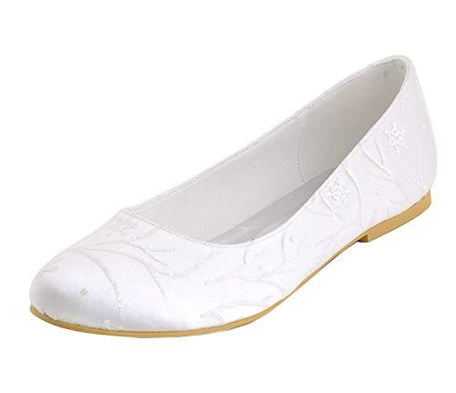 Zhrui ballerine da sposa da sposa in raso floreale da donna, comode scarpe da sera (colore : white-1cm heel, dimensione : 8 uk)