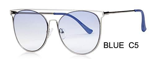 LKVNHP Marke Metall Schild Sonnenbrille Männer Sommer Sea Blue Trendy Cat Eye Sunglasse Frauen Sonnenbrille Uv Protector GradientWTYJ064 blau c5