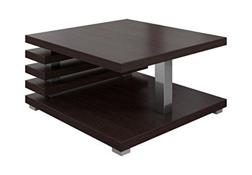 Couchtische Wohnzimmertische Beistelltisch Tisch Oslo 60 x 60 cm Dunkel Eiche Wenge - Chrome Moderne Beistelltisch