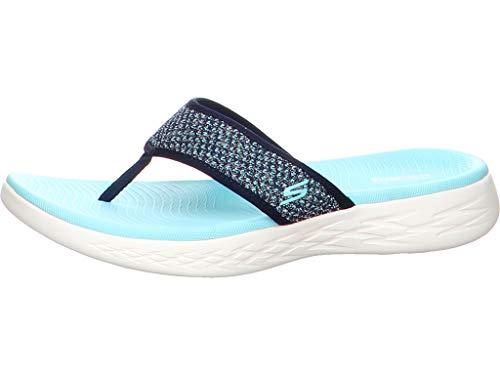 Skechers On The Go 600 Womens Toe Post Sandals 5 UK/38 EU Navy/Aqua Damen Post