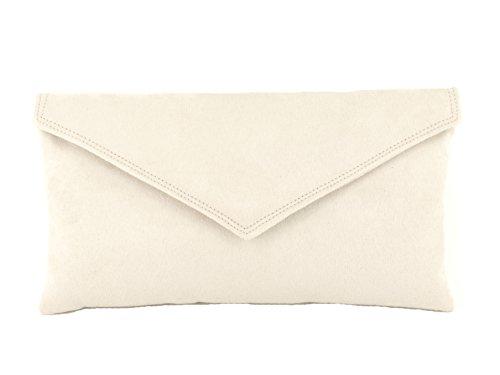 LONI Neat Umschlag Faux Wildleder Clutch Bag/Schultertasche in Elfenbein