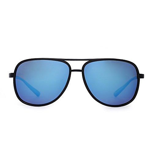 JM Retro Polarisiert Flieger Sonnenbrille Spiegel Leicht Gewichts Brillen Zum Damen Herren(Glänzend Schwarz/Polarisiertes Verspiegeltes Blau)