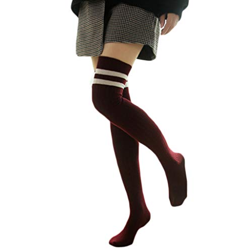 8b5af39c8d264 Women Girls Autumn Braided/Ribbed Knitted Long Socks Double Striped Printed Over  Knee Thigh High