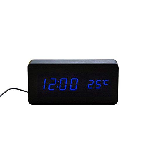 2016 Sound Control LED Holz Wecker Digital Zeit Temperatur Woche Kalender Anzeige für inländisches
