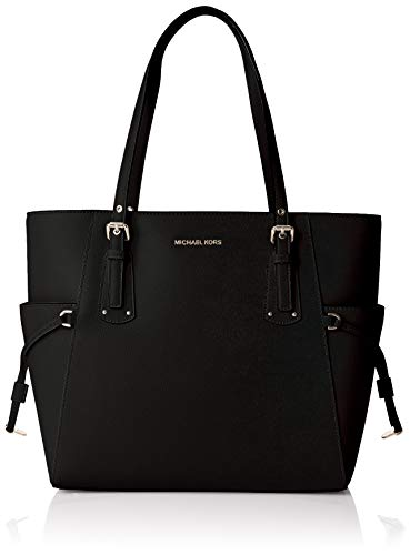 Michael Kors Damen Voyager Crossgrain Leather Tote Schwarz (Black), 15,8x27,9x37,4 cm
