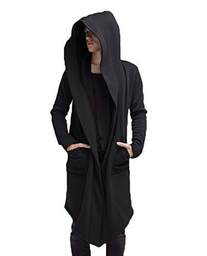 Huateng Übergroßes Gothic Casual Unregelmäßiges Hoodie Open-Front Langarm-Sweatshirt
