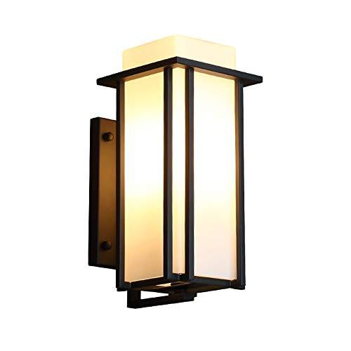 Retro LED Außen-Wandleuchte Schwarz Aluminiumguss Und Glas Schatten Gartenlampe IP44 Wand-Außenleuchte Hoflampe Balkon Außenlampe Wandlampe 21 X 17 X 39 Cm -