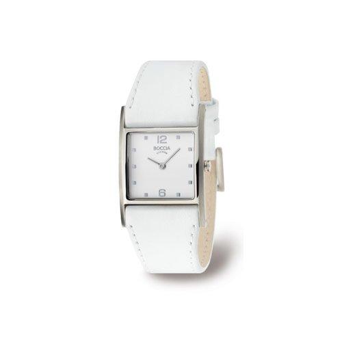 Boccia Style 3160-01 - Reloj de mujer de cuarzo, correa de piel color blanco