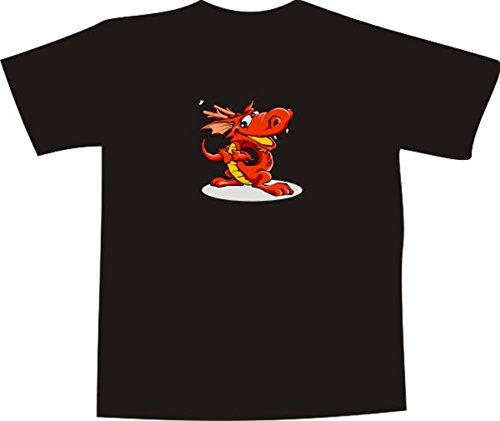 T-Shirt E005 Schönes T-Shirt mit farbigem Brustaufdruck - Grafik / Comic - kleiner Drache - mehrfarbig Mehrfarbig