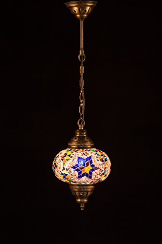 Handmade Turkish Lamp Moroccan Ottoman Style Mosaic Oval Hanging Lamp Single Chain Lights Home Bedroom Restaurant Cafe Decoration Light Size 3 Multicolour Star