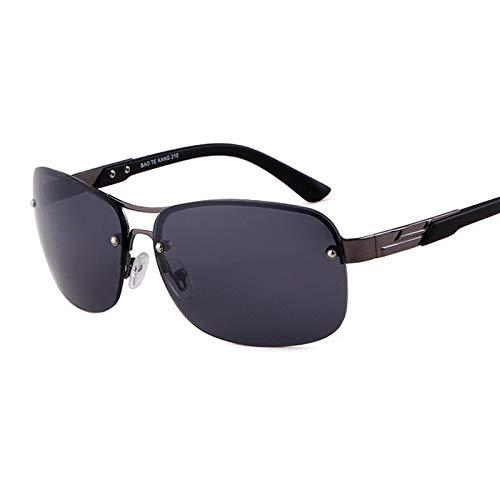 WHABJFrauen Double Beam Semi-randlose Sonnenbrille Männer Pilot Verlaufsglas Gläser UV400 Metall